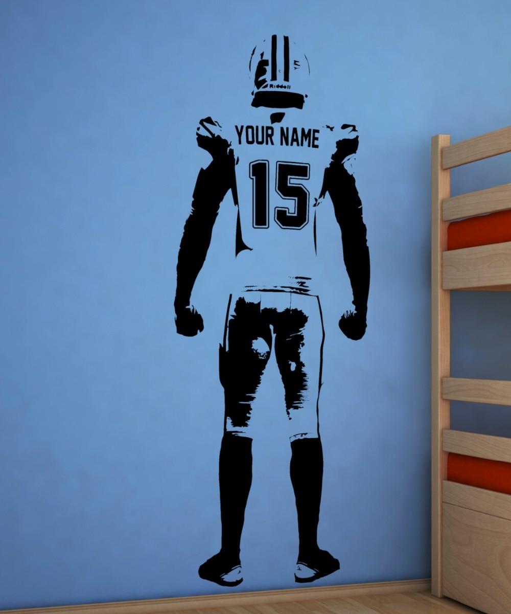 Arte de la pared Calcomanía para pared de fútbol americano decoración Jersey personalizado nombre y número de pegatinas de vinilo de jugador de fútbol americano personalizado etiqueta H-2