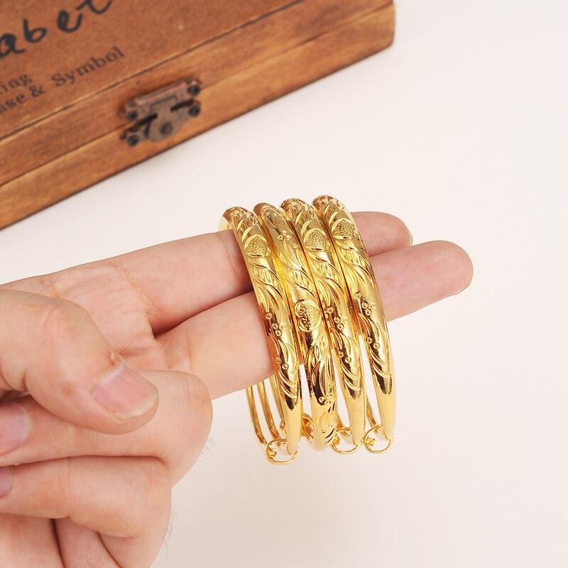 2 stücke 2,4 inche nette mädchen Frauen Gold armreif Armbänder Ethiopian Schmuck Africandubai Arabischen Artikel kinder schmuck baby kind beste geschenk