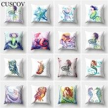 CUSCOV new animal dacron sofa cushion cover colorful mermaid wedding decoration home pillowcase beautiful owl chair pillow