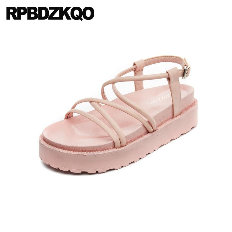 a77a48440df742 Strappy Women Soft Harajuku Slingback Wedge Platform Cage Low Heel Shoes  Flatform Strap Red Vintage Gladiator Sandals Heels Pink