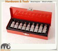 9pc 55mmL Stubby 4 19mm Cr V 1/2 Dr. Hex Allen Key Wrench Socket Bits Set