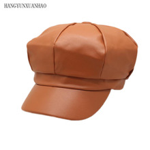 HANGYUNXUANHAO New High Quality Mens Hat British Style of Free Shipping PU Leather Woman Newsboy Cap Octagonal Hats