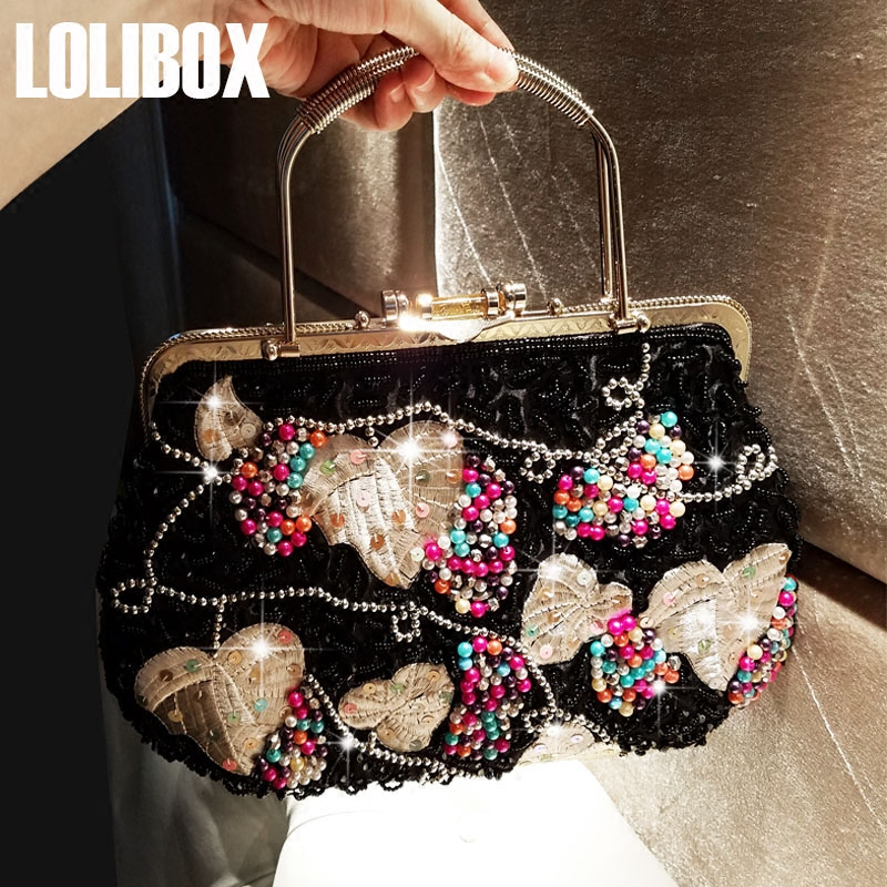 LOLIBOX luxury handbags women bags designer beaded sequins clutch glass bead embroidered leaves women handbag evening party bag