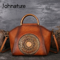 Johnature 2019 New Women Handbags Genuine Leather Shell Totes Geometric Vintage Cowhide Lady Versatile Shoulder&Crossbody Bags