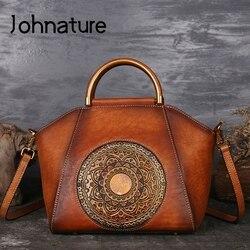 Johnature 2019 New Women Handbags Genuine Leather Shell Totes Geometric Vintage Cowhide Lady Versatile Shoulder&Crossbody Bags