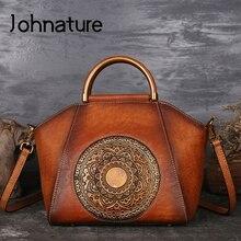 Johnature Neue Retro Frauen Handtasche Handarbeit Aus Echtem Leder Shell Totes Geometrische Vintage Rindsleder Lady Schulter & Umhängetaschen
