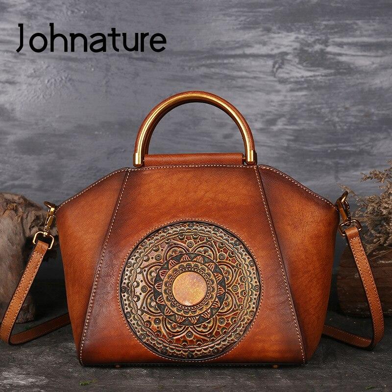 Johnature New Retro Women Handbag Handmade Genuine Leather Shell Totes Geometric Vintage Cowhide Lady Shoulder&Crossbody Bags