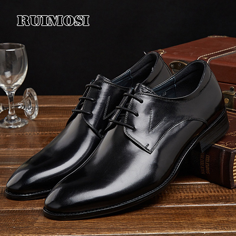 RUIMOSI Formal Man Bridal Derby Dress Shoes Genuine Leather Cow Party Wedding Oxfords Luxury Brand Round Toe Men's Footwear PF29