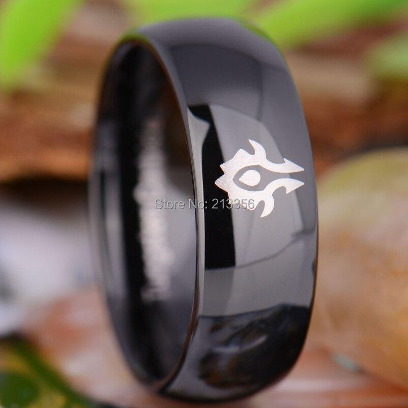 Sales e & Jóias de Luxo Anel de Casamento de Tungstênio Tungsten 8 mm Comfort Fit Dome World of Warcraft Horde Preto De! Eua Hot c