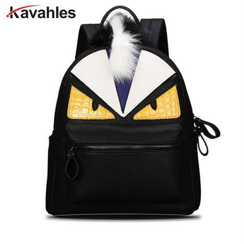 2017 personality fashion backpacks men travel women school bags for teenagers mochila escolar Monster leather backpack