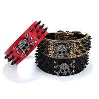High Quality Bulldog Collar Nail Pet Chain Shiba Inu Necklace Leather Dog Collars For Medium Dogs