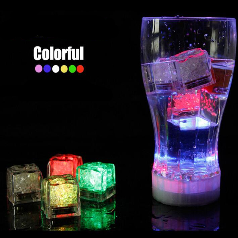 12pcs Colorful Flash Luminous Ice Cubes Led Ice Light Festival Wedding Xmas Decoration Lighting Party Supplies Bar Tool