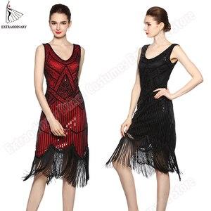 Image 3 - Женское вечернее платье в стиле 1920 х годов, платье в стиле Великий Гэтсби с бахромой, блестками, бусинами и бахромой, вечернее платье с V образным вырезом, украшенное бахромой без рукавов