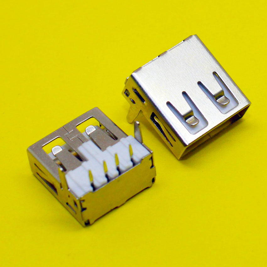 1x Flat port 2.0USB female socket 90 degree Straight legs Horizontal USB Jack DIY
