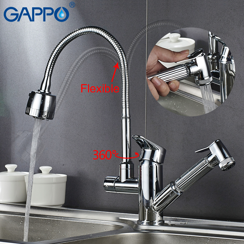Gappo Kitchen Faucets Rotatable  Kitchen Water Sink Mixer Tap Kitchen Pull Out Water Mixer Taps Deck Mounted Armatur