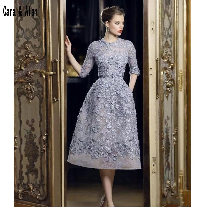 Beautiful Elie Saab Evening Dresses Applique Lace A-Line Formal Gowns Half Sleeve Tea Length Prom Gowns Robe De Soiree