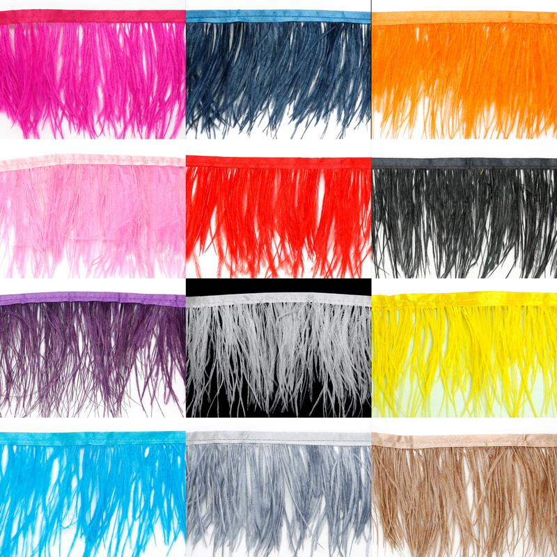 12 Color For Selections Ostrich Feather Skirt Fringe Trim