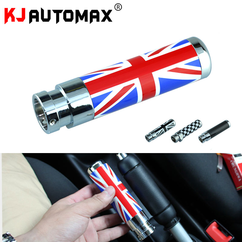 KJAUTOMAX For Mini Cooper R55 R56 Grey Jack Union Jack Carbon Fiber Titanium Alloy Checker Hand Brake Cover