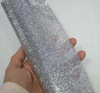 2mm Silver Hematite FlatbackRhinestone Beaded Trim Diamond Mesh Hotfix Or Self ADHESIVE Roll Strass Applique Banding