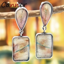 CANNER Ethnic Natural Stone Earrings Geometric Vintage Boho for Women Dangle/Drop 2019 pendientes mujer FI