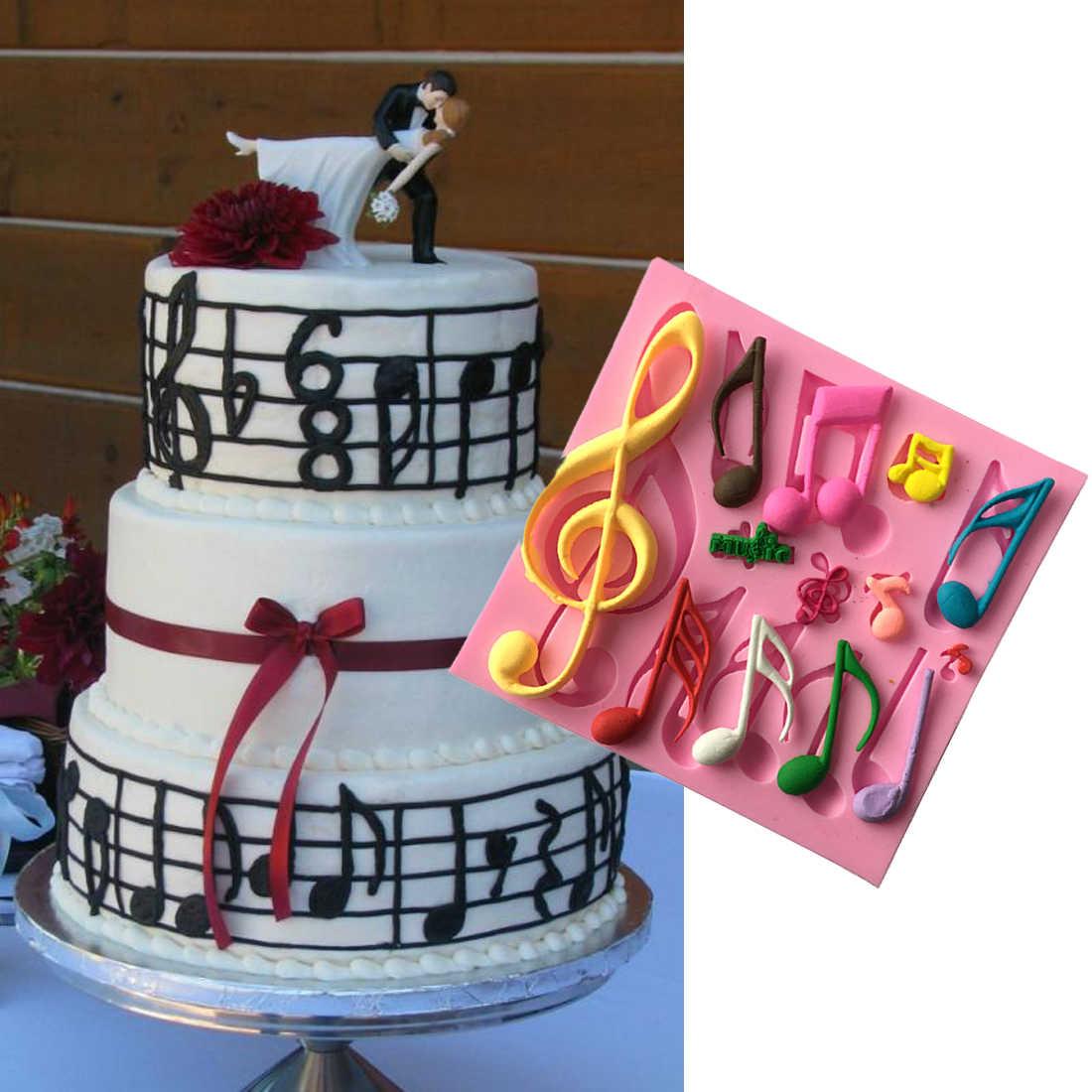 Выпечка инструменты музыкальные ноты форма силиконовая форма для помадки торт жароустойчивая форма для выпечки инструменты форма для мыла Сахар инструмент 11,5*11*1 см