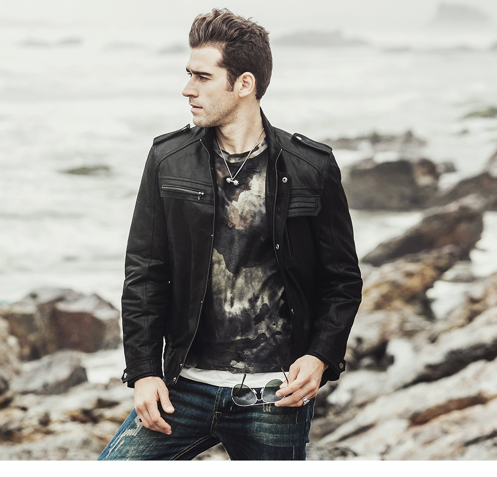 NEW Winter Men's Motorcycle Genuine leather jacket male Retro Real leather jacket