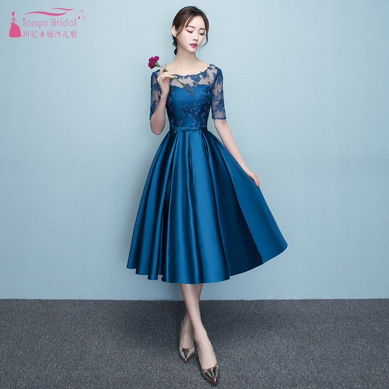 Wedding Guest Dresses With Sleeves.Us 74 34 10 Off Blue Wedding Guest Dress Tea Length A Line Half Sleeve Lace Satin Bridesaid Dresses For Wedding Party Maid Of Honor Dresses Jq26 In
