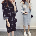 Sakazy Autumn Korean Suit Two Piece Set Pullover Knitted Long Sleeve Tops+skirt Plaid Women Winter Suit Clothing Best Friend
