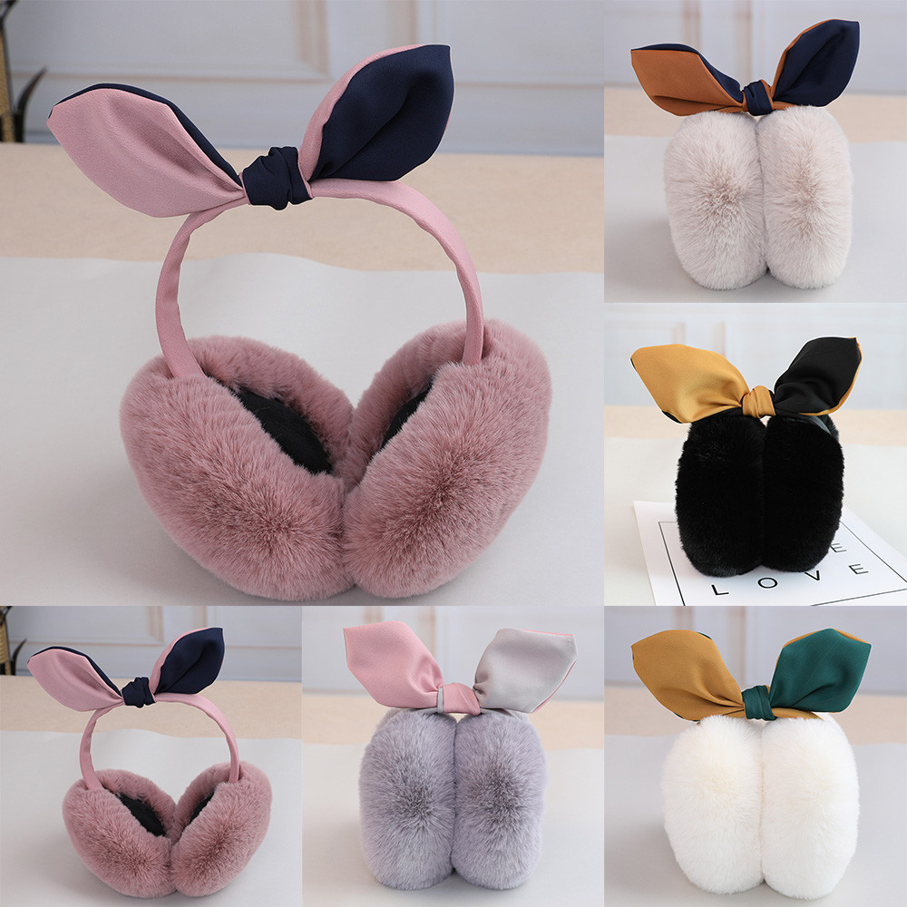 Simplicity Women's Keep Warm Hairy Cute Winter Ear Warmers Fleece Bow Comfort Earmuffs L50C