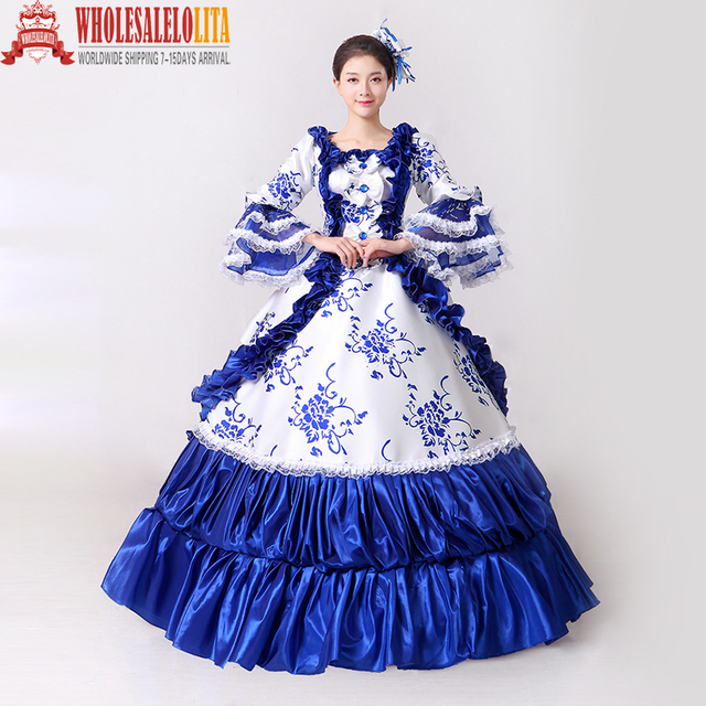 Brand New Blue Lace Printed Marie Antoinette Masquerade Ball Gown ...