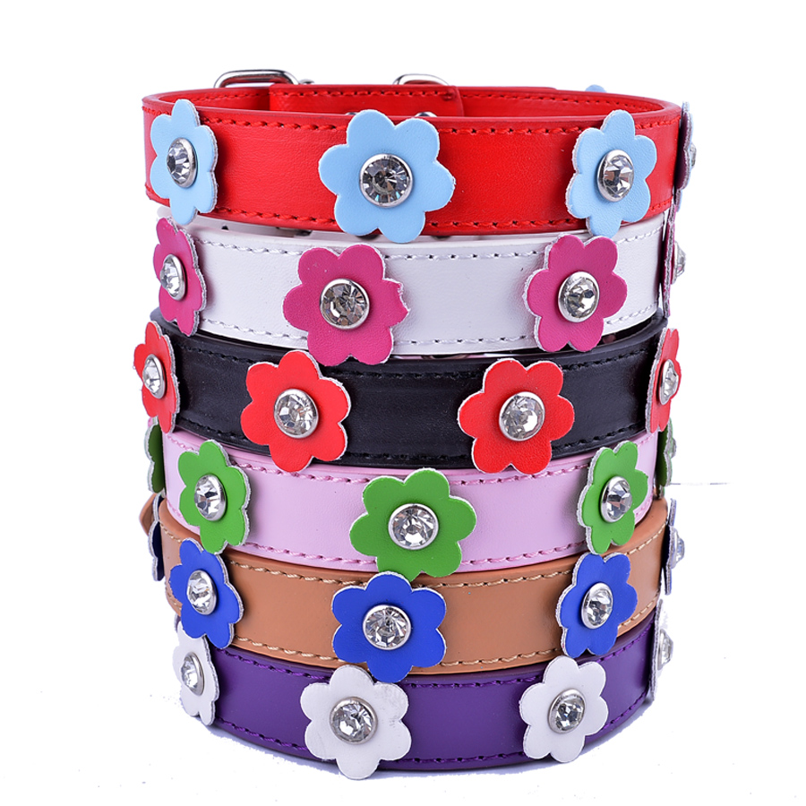 Pu Leather Flowers Dog Collars For Small Dogs Crystal Studded Pet Puppy Cat Collar Adjustable Buckle Size S M