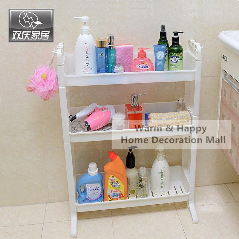 3 layer plastic bathroom shelf storage shelf bath room floor shampoo rack corner shelf towel basket