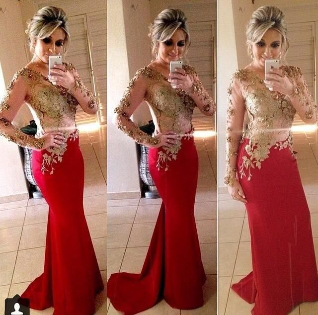 0b82b53d5c54 Gold Appliques Red Mermaid Evening Dress Long Sleeve Illusion Sheer O-Neck Prom  Dresses 2017 Celebrity Party Gowns Formal Dress