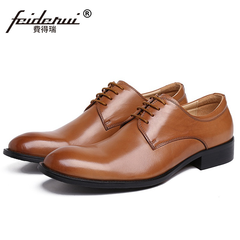 Classic Formal Man Derby Bridal Dress Office Shoes Genuine Leather Wedding Oxfords Luxury Brand Round Toe Men's Footwear XE98 mycolen mens shoes round toe dress glossy wedding shoes patent leather luxury brand oxfords shoes black business footwear