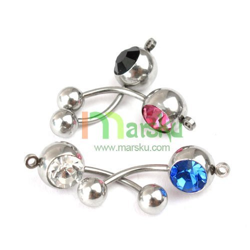 8MM Crystal Paved Belly Ring Body Jewelry / Free Shipping 10pcs/lot #1525