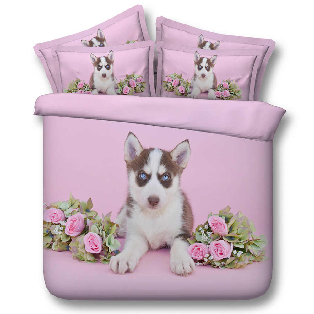Pink huskies Digital print Bedding Set  Quilt Cover  Design Bed Set Bohemian a Mini Van Bedclothes 3pcs JF102