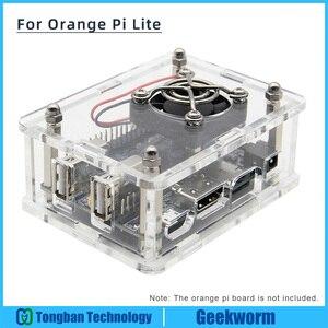 Orange Pi Lite Acrylic Case with Fan Kit Transparent Enclosure Protective Shell Set for Orange Pi Lite