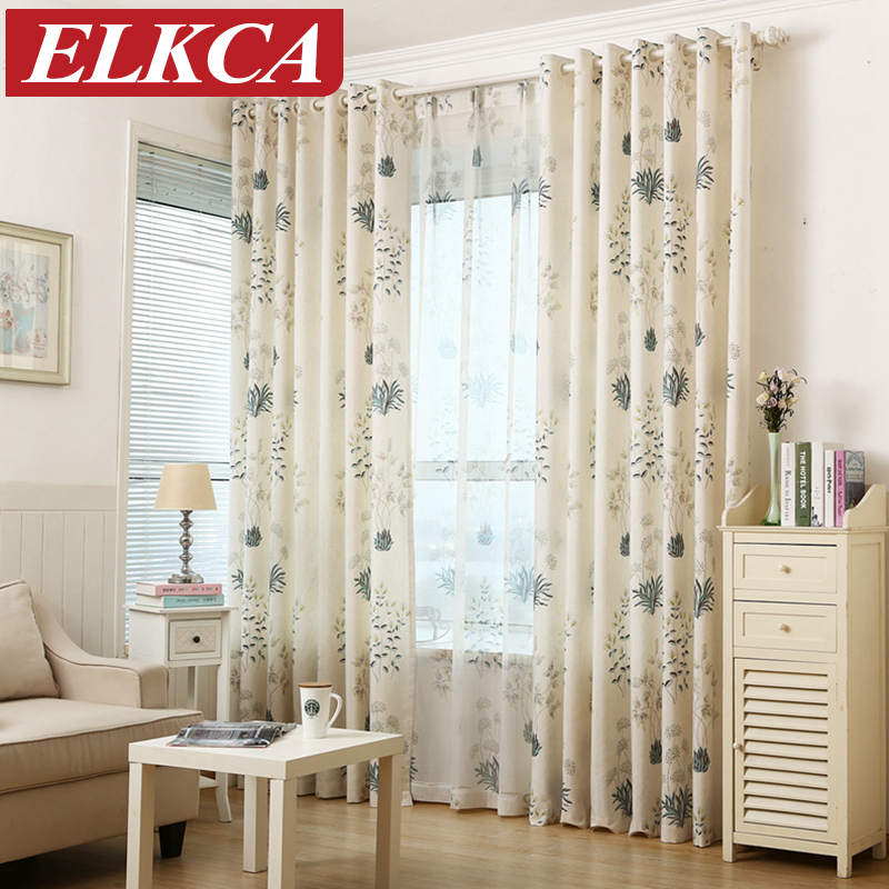 Rustic Floral Herb Printed Faux Linen Curtains For Living