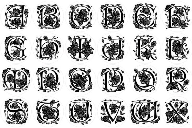 Wax Seal Copper head Curlicue Rose 26 Letters DIY Scrapbooking Vintage wax sealing stamp wedding/ invitation/envelop gift seal