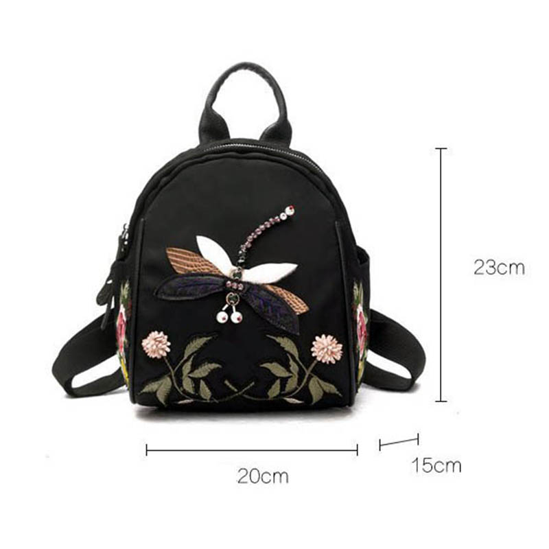 Flower Embroidery Backpack Women Small Mini Shoulder Bag Dragonfly Backpack Female Casual Retro Travel Bags Girls Fashion Design