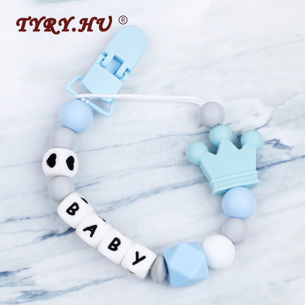 1PC Crown Silicone Personalised Name Baby Pacifier Clips Teething Chain Baby Teether Handmade Silicone Pacifier Chains BPA Free