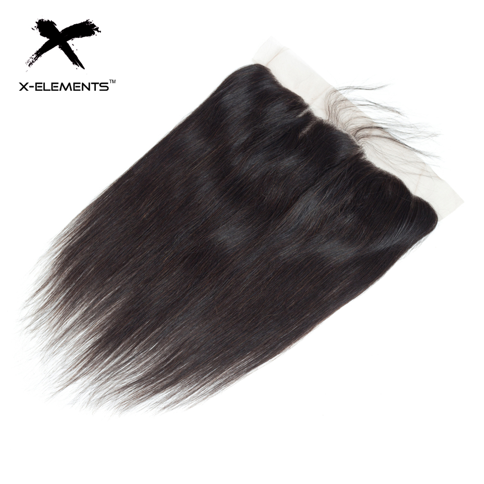 X-Elements Hair Straight 13 * 4 Spets Frontal With Baby Hair - Mänskligt hår (svart) - Foto 2