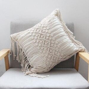 Image 2 - Poduszka poszewka na poduszkę 45cm x 45cm ręcznie tkana nić bawełniana pościel do dekoracji domu i samochodu dekoracja sofy Bohemia poszewka