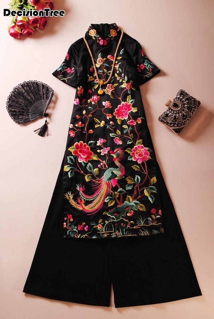 2019 Ao Dai Cheongsam Folk Style Vietnam Chiffon Aodai Graceful Stand Collar Elegant Women Chinese Traditional Dress