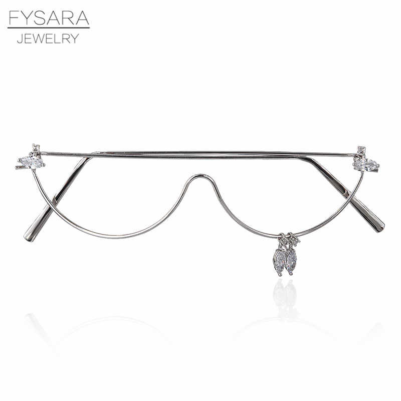 FYSARA Trendy Jewelry Mask AAA CZ Crystals No Lens Cat Eye Glasses For Women Accessories Fashion Jewelry Electronic Girl Glasses