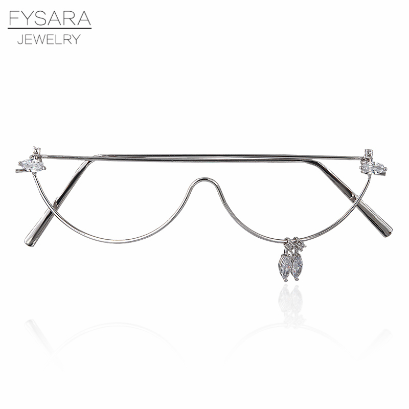 цена на FYSARA Trendy Jewelry Mask AAA CZ Crystals No Lens Cat Eye Glasses For Women Accessories Fashion Jewelry Electronic Girl Glasses