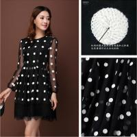 Cheap Organza Embroidery Fabric Black And White Circle Geometric Pattern Embroidery Sewing Materials African Tulle Lace