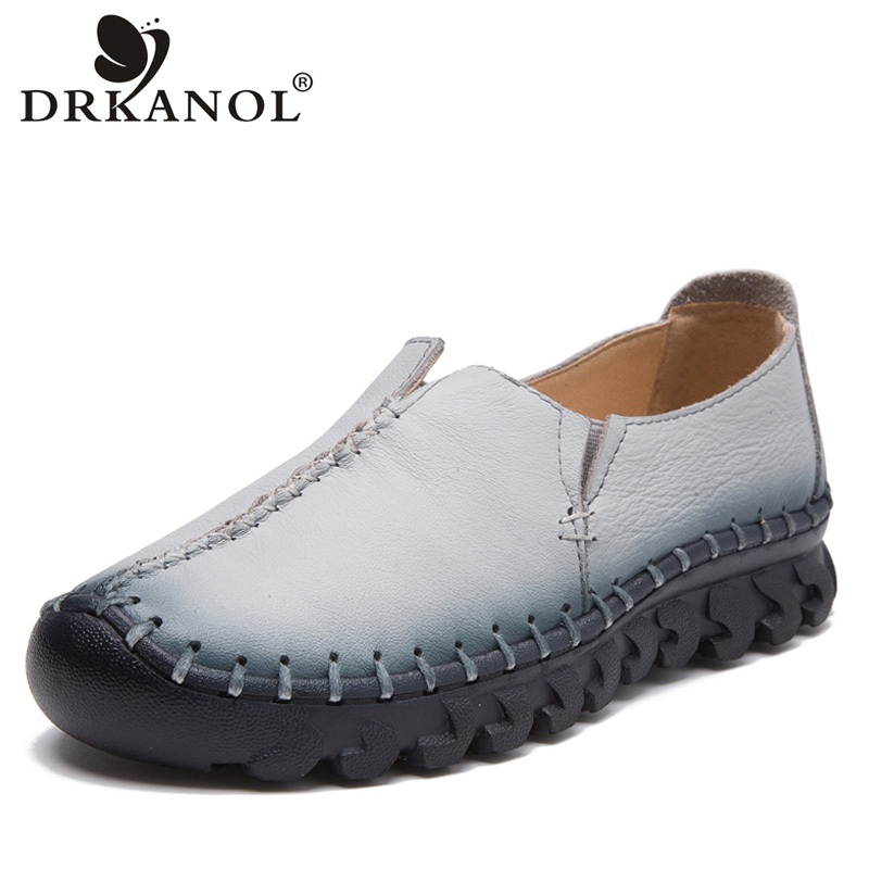 DRKANOL Handmade Shoes Woman Flat Shoes Soft Genuine Leather Slip On Flats Loafers Women Casual Shoes Moccasins Chaussure Femme drkanol summer slip on flats breathable hollow out women flat loafers shoes round toe bow knot soft genuine leather casual shoes