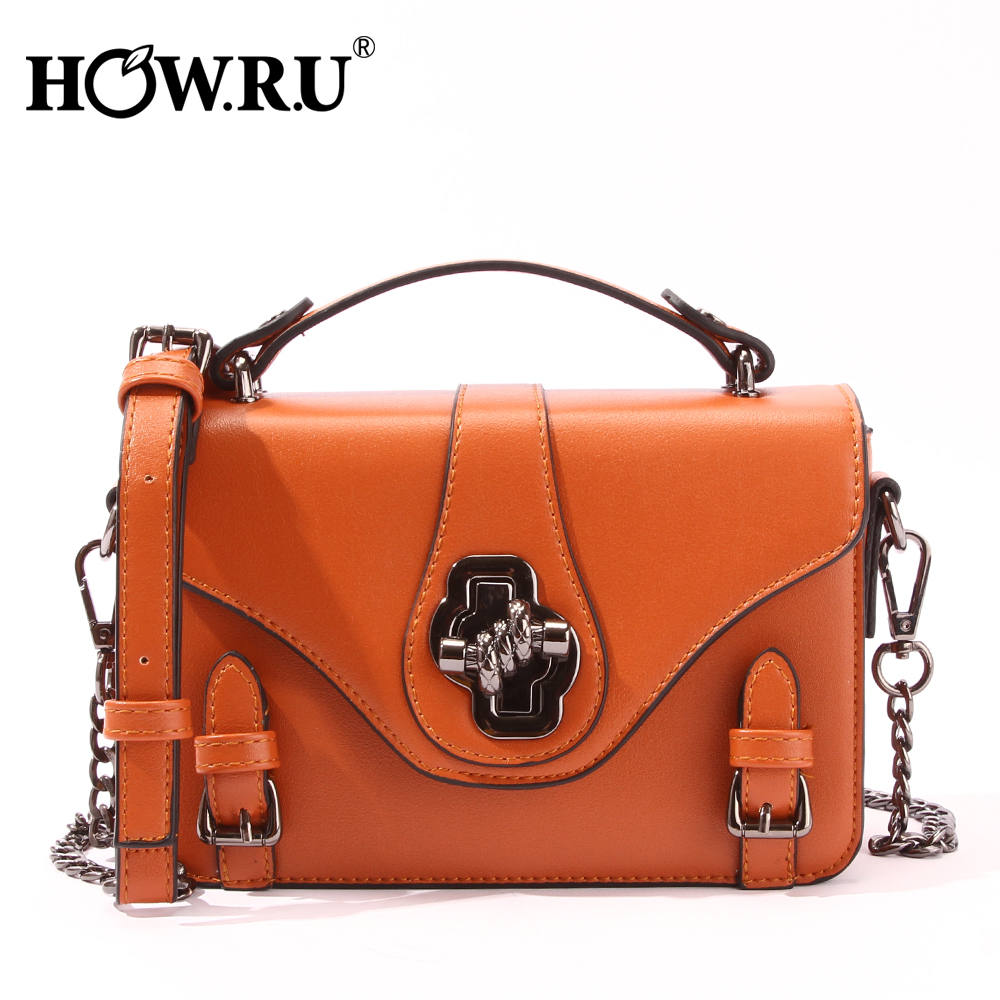 HOWRU Women Messenger Bags Designer Woman Bag 2019 Vintage Belt Design Women's Shoulder Bags Luxury Women's Small Chains Handbag