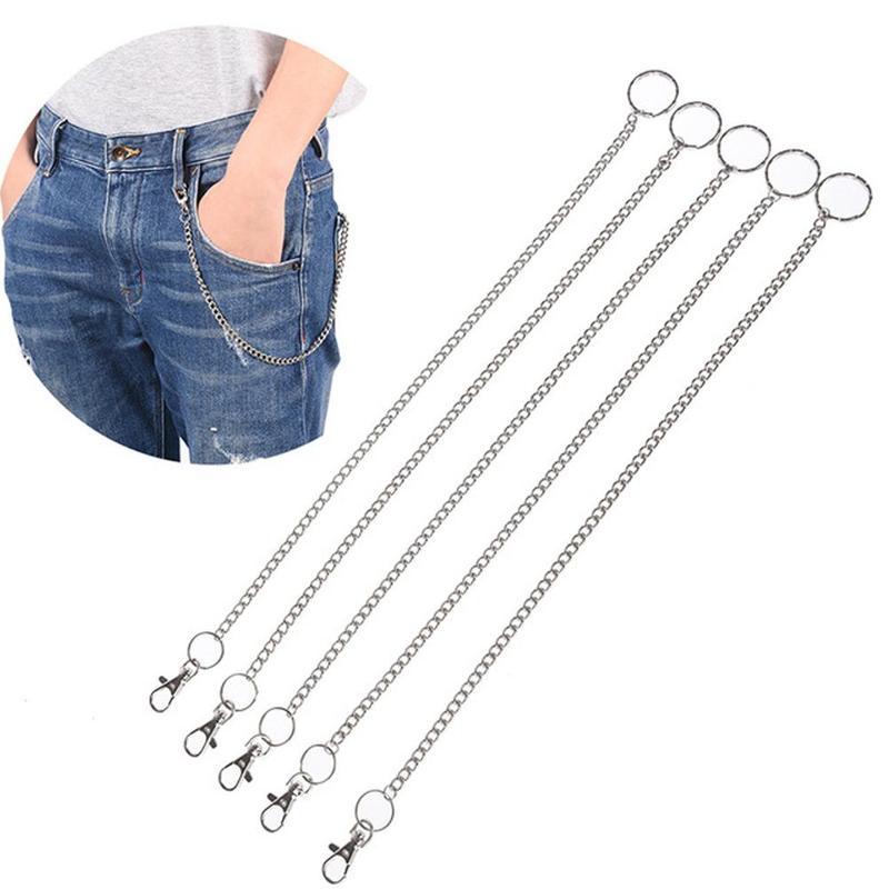 2019 New Silver Metal Chain Rock Punk Hook Pants Belt Trousers Waist Link 1 Layer Belt Purse Alloy Classic Jewelry Accessories